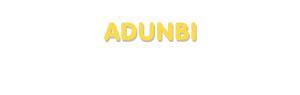 Der Vorname Adunbi