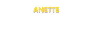 Der Vorname Anette