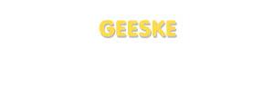 Der Vorname Geeske
